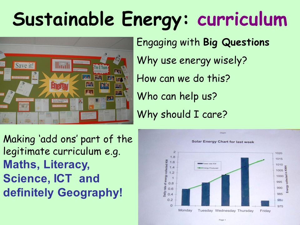 Sustainable Energy: curriculum Making add ons part of the legitimate curriculum e.g.