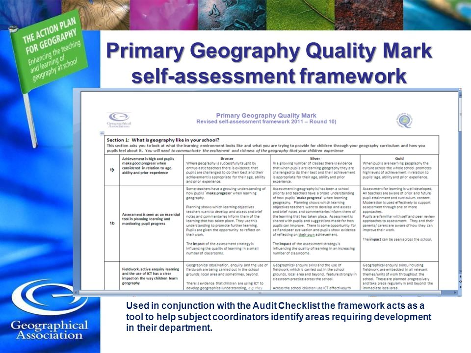 Used in conjunction with the Audit Checklist the framework acts as a tool to help subject coordinators identify areas requiring development in their department.