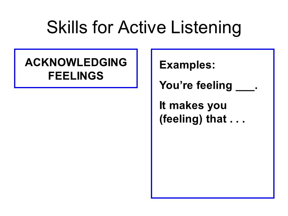 Skills for Active Listening ACKNOWLEDGING FEELINGS Examples: Youre feeling ___. It makes you (feeling) that...