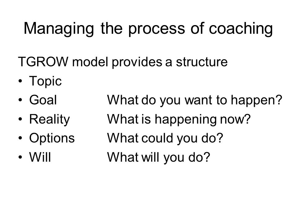 Managing the process of coaching TGROW model provides a structure Topic Goal What do you want to happen? Reality What is happening now? Options What c