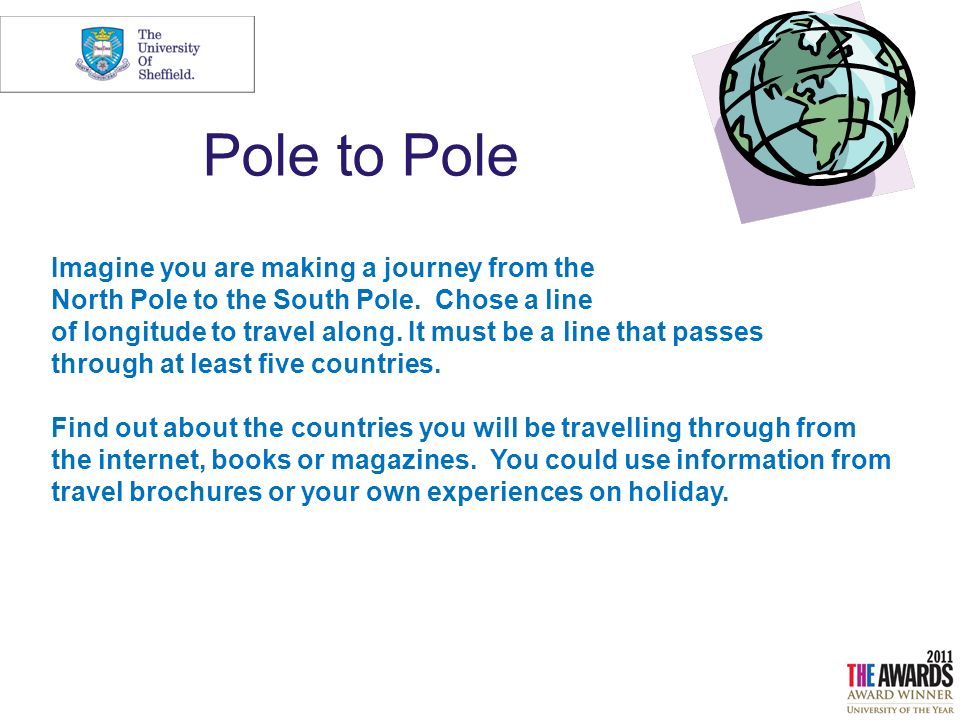 Pole to Pole Imagine you are making a journey from the North Pole to the South Pole.