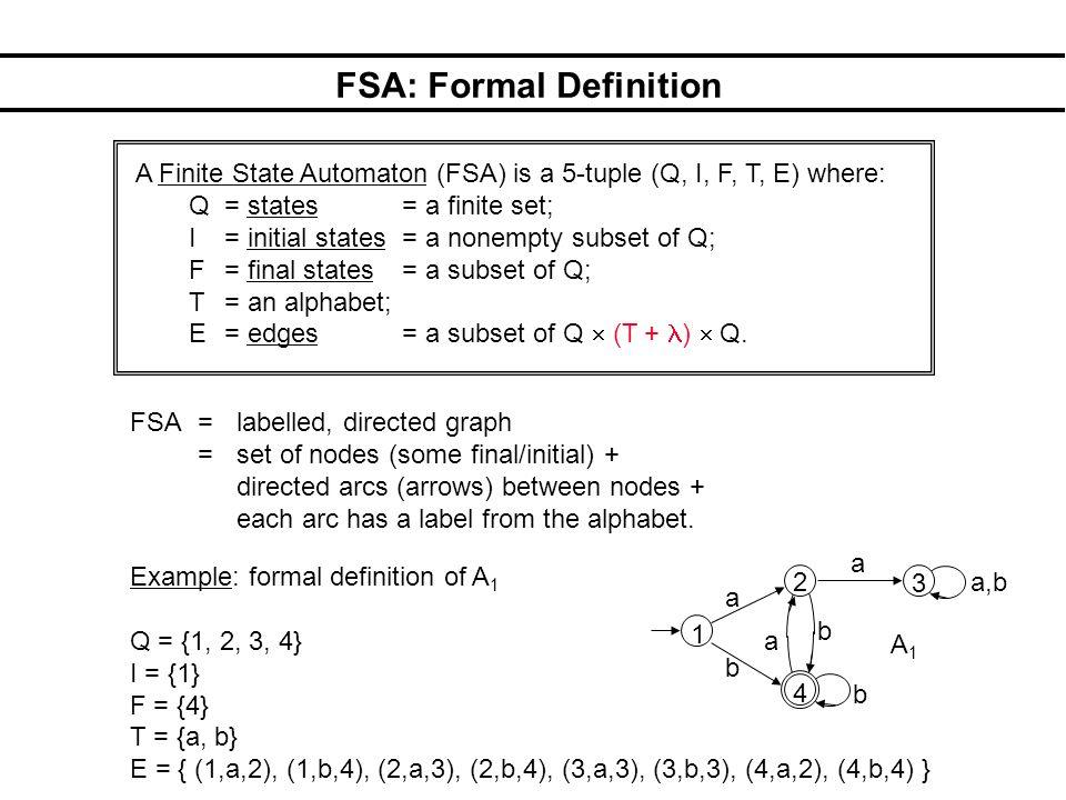 FSA: Formal Definition A Finite State Automaton (FSA) is a 5-tuple (Q, I, F, T, E) where: Q = states = a finite set; I = initial states = a nonempty subset of Q; F = final states = a subset of Q; T = an alphabet; E = edges = a subset of Q (T + ) Q.