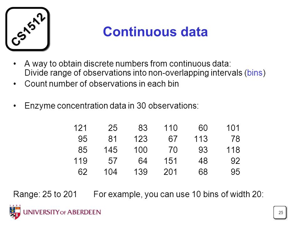 CS1512 25 Continuous data A way to obtain discrete numbers from continuous data: Divide range of observations into non-overlapping intervals (bins) Count number of observations in each bin Enzyme concentration data in 30 observations: 121 25 83 110 60 101 95 81 123 67 113 78 85 145 100 70 93 118 119 57 64 151 48 92 62 104 139201 68 95 Range: 25 to 201 For example, you can use 10 bins of width 20: