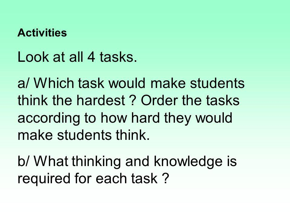 Activities Look at all 4 tasks. a/ Which task would make students think the hardest ? Order the tasks according to how hard they would make students t