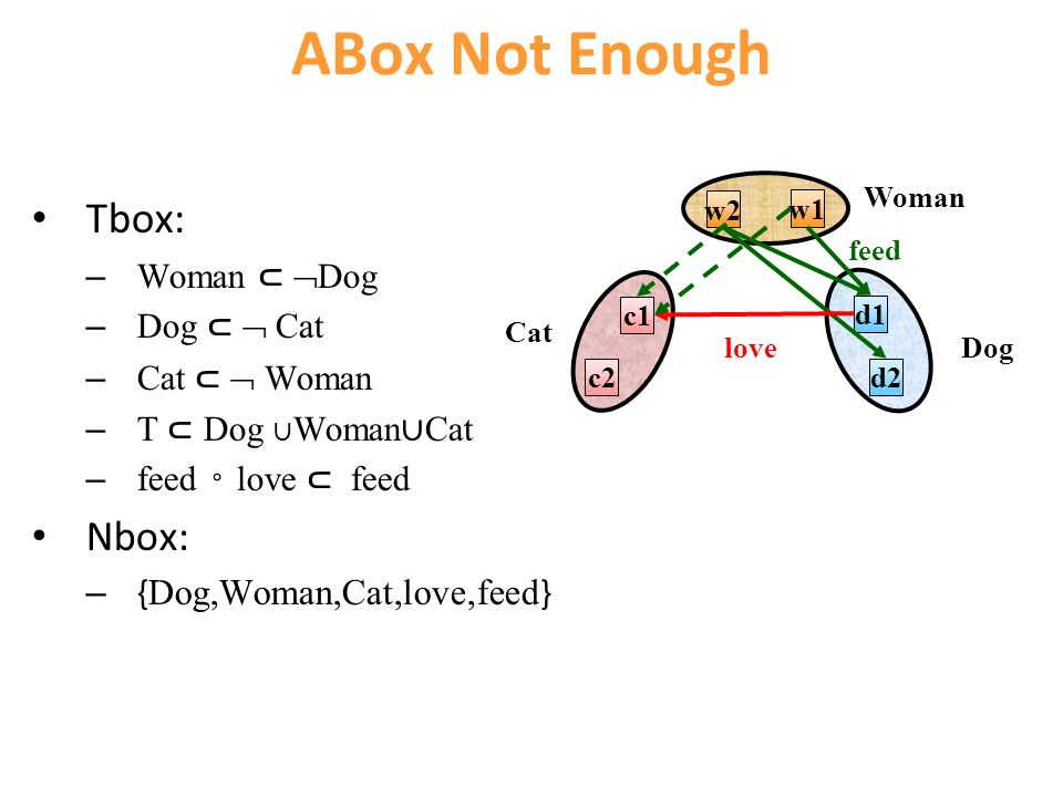 ABox Not Enough Tbox: – Woman Dog – Dog Cat – Cat Woman – T Dog Woman Cat – feed love feed Nbox: – { Dog,Woman,Cat,love,feed } w1 w2 Woman d1 d2 Dog c1 c2 Cat feed love