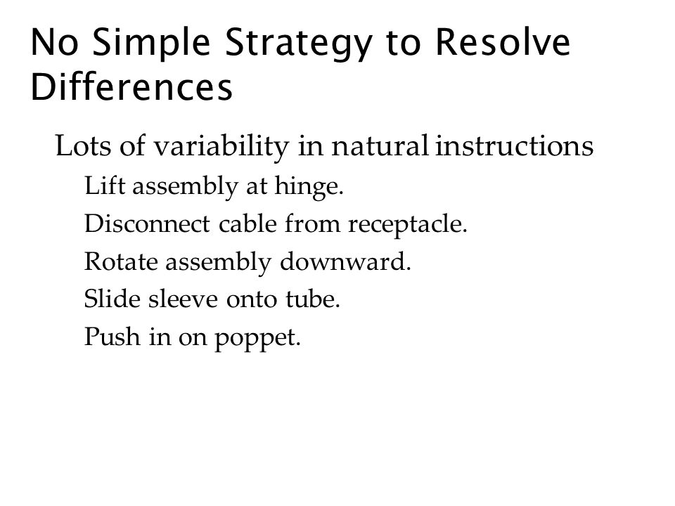 No Simple Strategy to Resolve Differences Lots of variability in natural instructions Lift assembly at hinge.