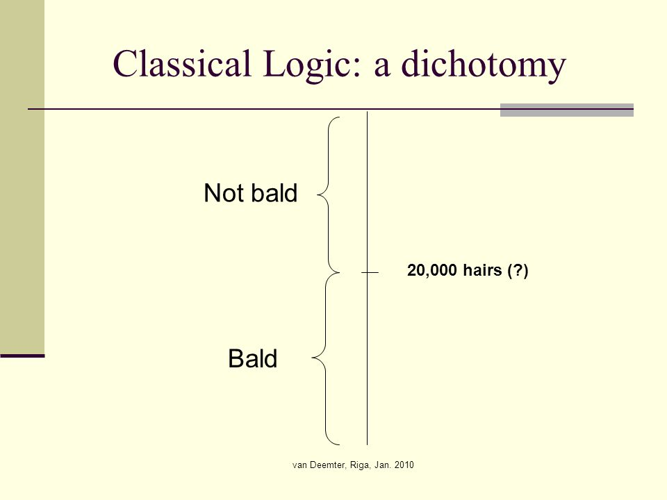 van Deemter, Riga, Jan. 2010 Classical Logic: a dichotomy 20,000 hairs ( ) Not bald Bald