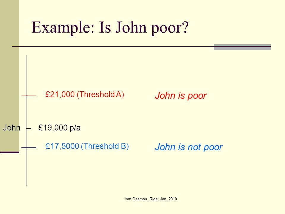 van Deemter, Riga, Jan. 2010 Example: Is John poor.