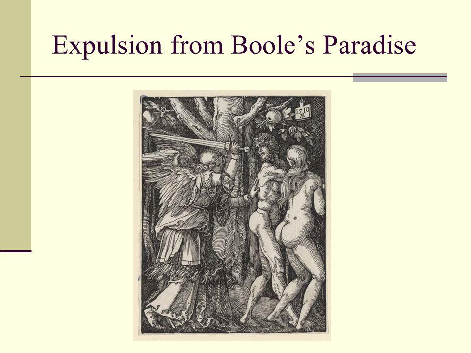van Deemter, Riga, Jan. 2010 Expulsion from Booles Paradise