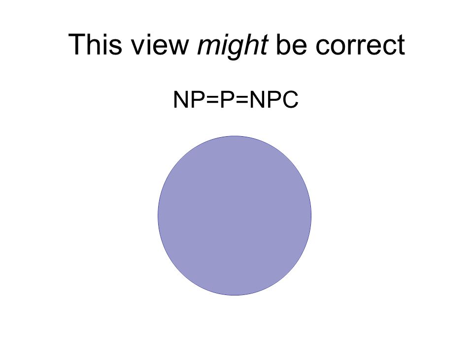 This view might be correct NP=P=NPC