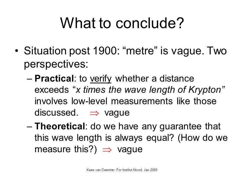 Kees van Deemter. For Institut Nicod, Jan 2009 What to conclude.