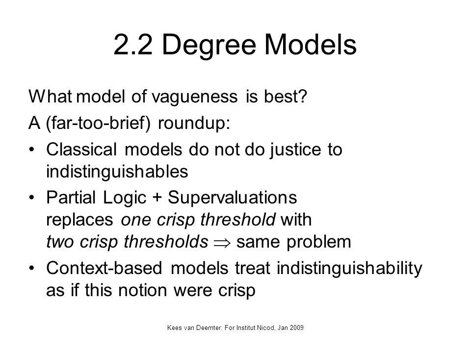 Kees van Deemter. For Institut Nicod, Jan 2009 2.2 Degree Models What model of vagueness is best.