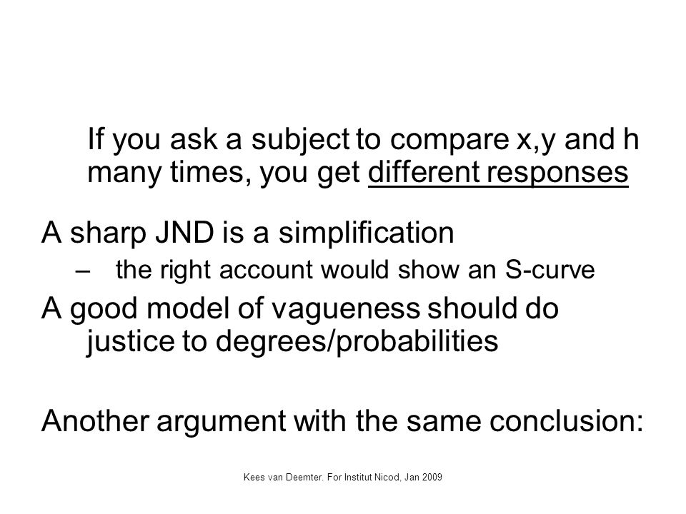 Kees van Deemter. For Institut Nicod, Jan 2009 If you ask a subject to compare x,y and h many times, you get different responses A sharp JND is a simp
