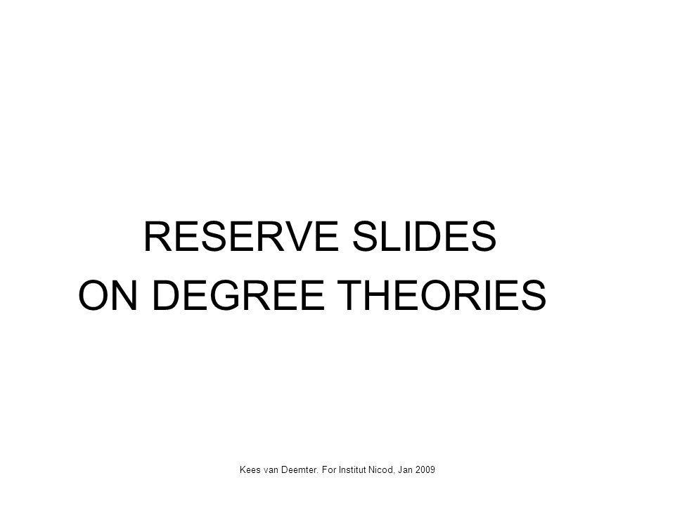Kees van Deemter. For Institut Nicod, Jan 2009 RESERVE SLIDES ON DEGREE THEORIES