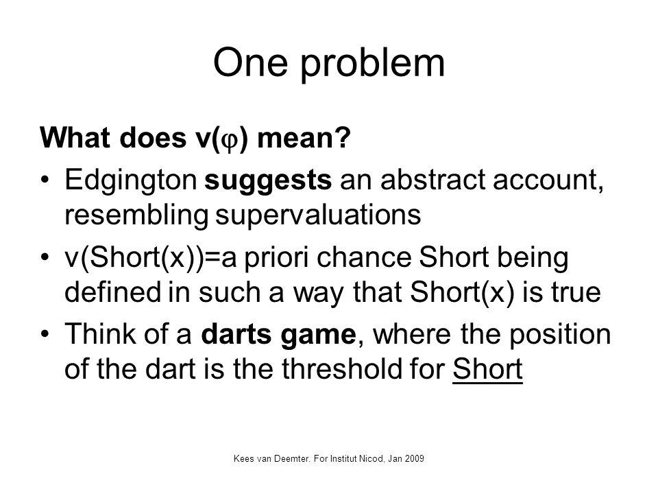 Kees van Deemter. For Institut Nicod, Jan 2009 One problem What does v( ) mean.