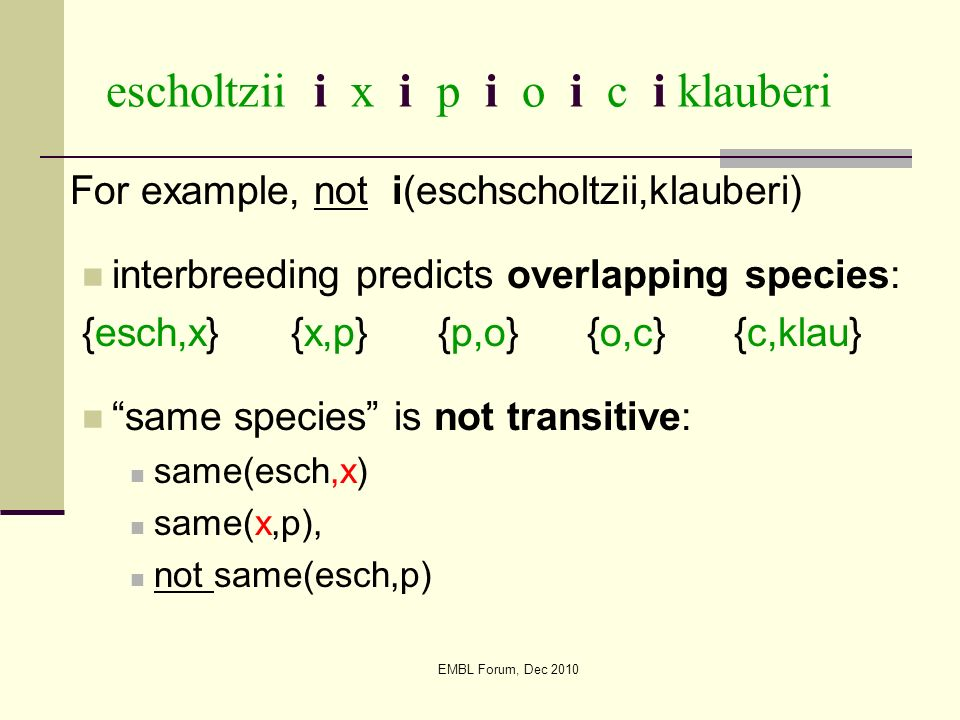 EMBL Forum, Dec 2010 escholtzii i x i p i o i c i klauberi For example, not i(eschscholtzii,klauberi) interbreeding predicts overlapping species: {esc