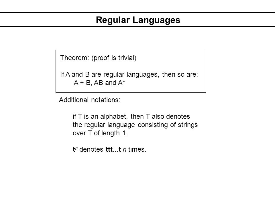Regular Languages Examples: (i) If a ε T then aT* denotes the language consisting of all strings over T starting with a.