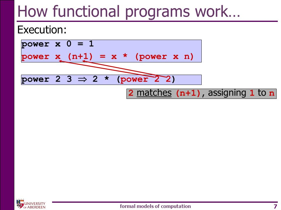 formal models of computation 7 How functional programs work… Execution: power * (power 2 2) power x 0 = 1 power x (n+1) = x * (power x n) 2 matches (n+1), assigning 1 to n
