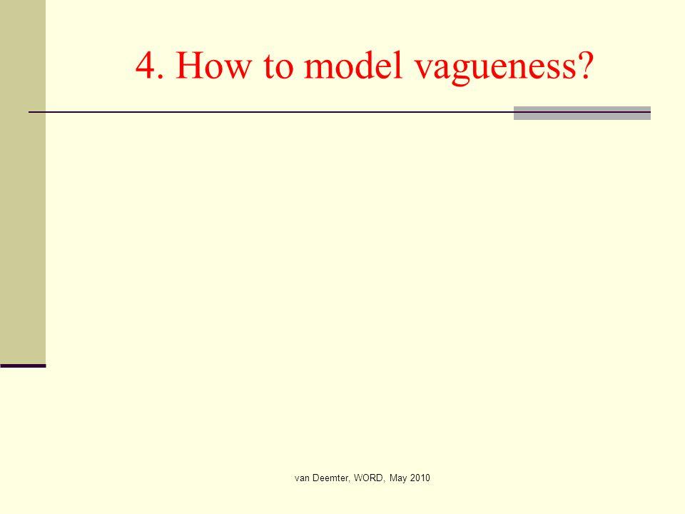 van Deemter, WORD, May 2010 4. How to model vagueness