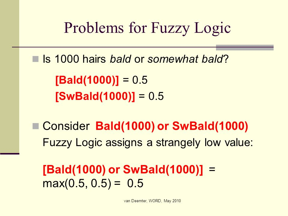 van Deemter, WORD, May 2010 Problems for Fuzzy Logic Is 1000 hairs bald or somewhat bald? [Bald(1000)] = 0.5 [SwBald(1000)] = 0.5 Consider Bald(1000)