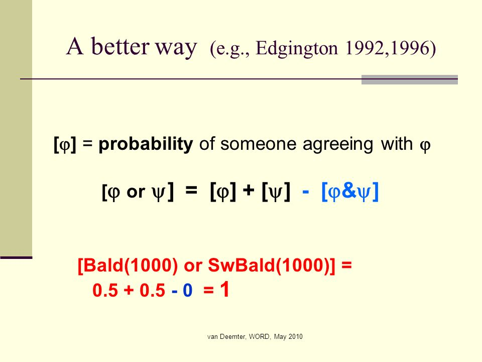 van Deemter, WORD, May 2010 A better way (e.g., Edgington 1992,1996) [ ] = probability of someone agreeing with [ or ] = [ ] + [ ] - [ & ] [Bald(1000)