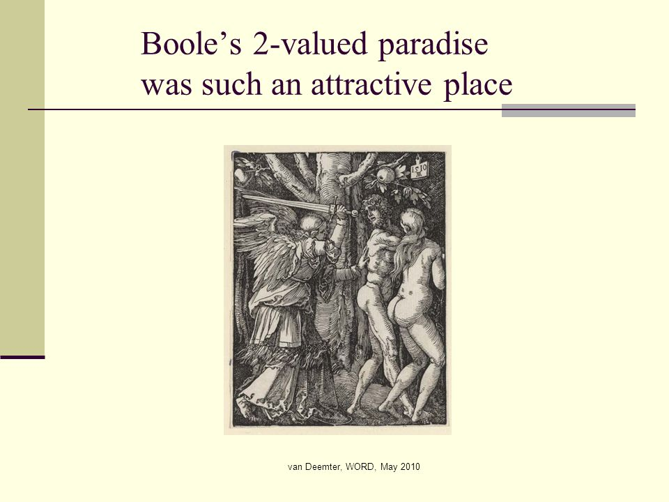 van Deemter, WORD, May 2010 Booles 2-valued paradise was such an attractive place