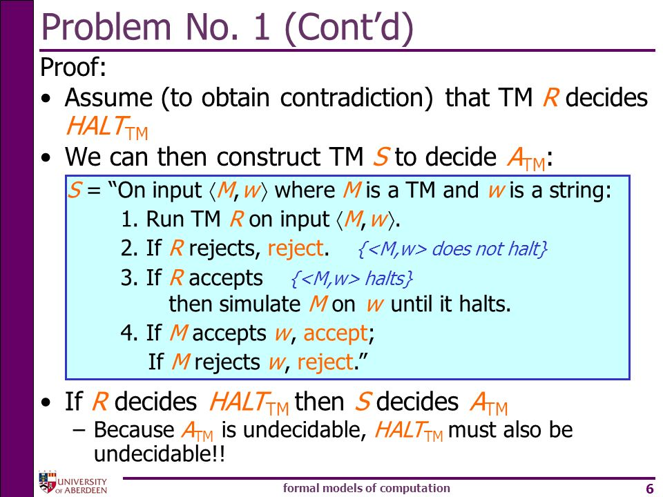 formal models of computation 6 Problem No. 1 (Contd) Proof: Assume (to obtain contradiction) that TM R decides HALT TM We can then construct TM S to d