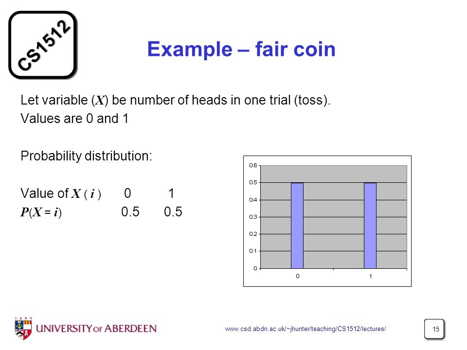 CS Example – fair coin Let variable ( X ) be number of heads in one trial (toss).
