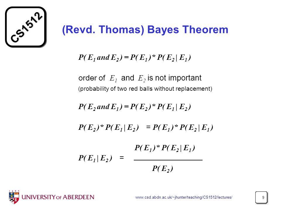 CS1512 www.csd.abdn.ac.uk/~jhunter/teaching/CS1512/lectures/ 9 (Revd.