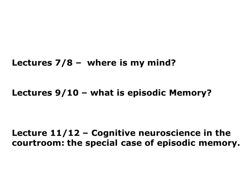 Lectures 7/8 –where is my mind. Lectures 9/10 – what is episodic Memory.