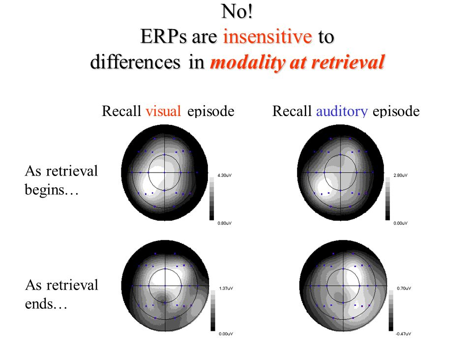 No! ERPs are insensitive to differences in modality at retrieval Recall auditory episodeRecall visual episode As retrieval ends… As retrieval begins…
