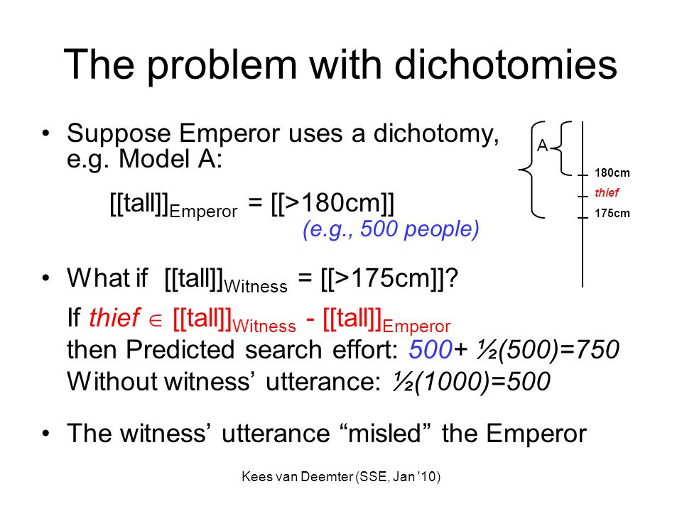 Kees van Deemter (SSE, Jan '10) The problem with dichotomies Suppose Emperor uses a dichotomy, e.g. Model A: [[tall]] Emperor = [[>180cm]] (e.g., 500