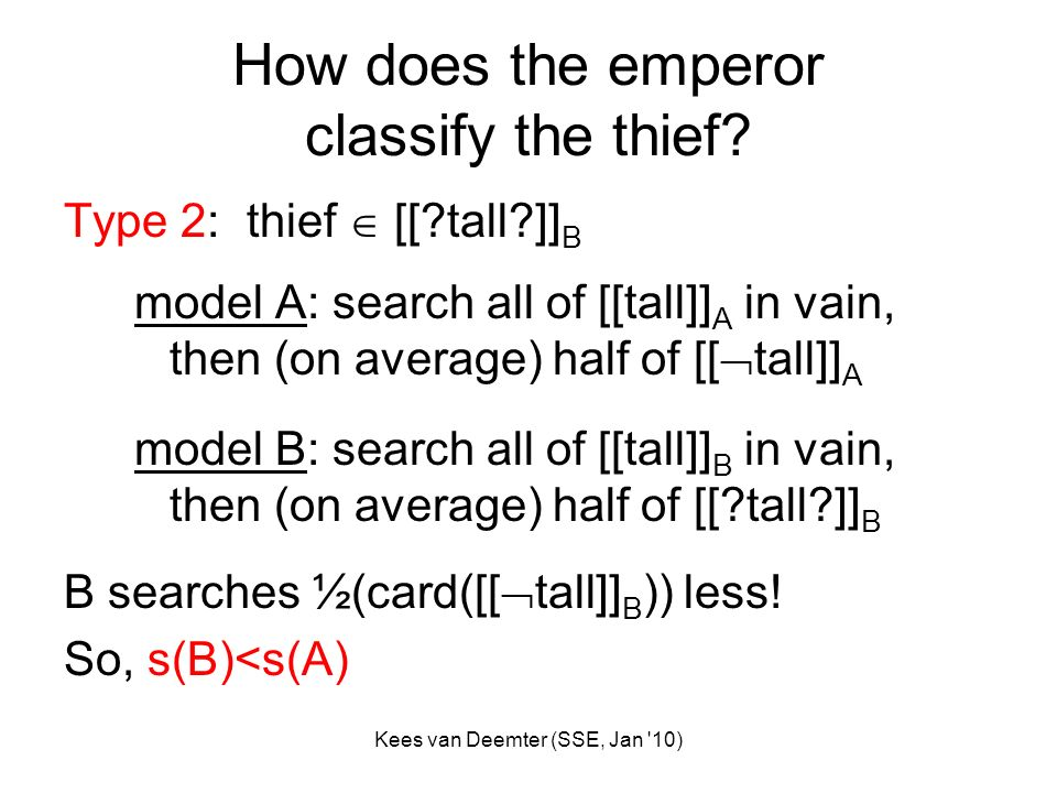 Kees van Deemter (SSE, Jan '10) How does the emperor classify the thief? Type 2: thief [[?tall?]] B model A: search all of [[tall]] A in vain, then (o