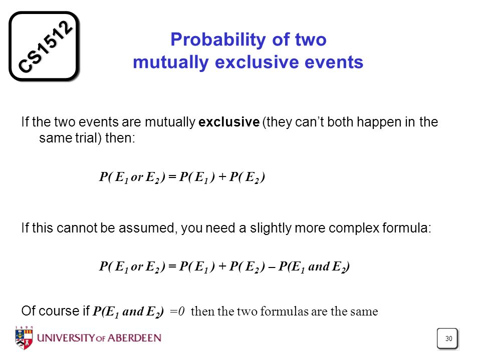 CS1512 30 Probability of two mutually exclusive events If the two events are mutually exclusive (they cant both happen in the same trial) then: P( E 1
