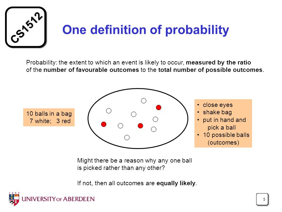CS1512 5 One definition of probability Probability: the extent to which an event is likely to occur, measured by the ratio of the number of favourable