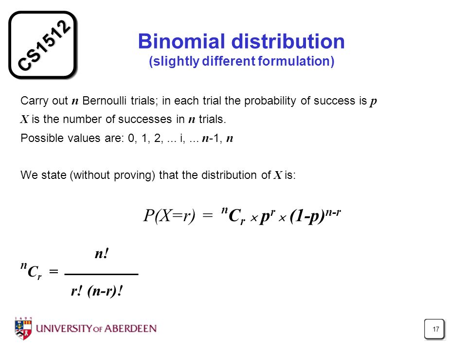 CS1512 17 Binomial distribution (slightly different formulation) Carry out n Bernoulli trials; in each trial the probability of success is p X is the number of successes in n trials.
