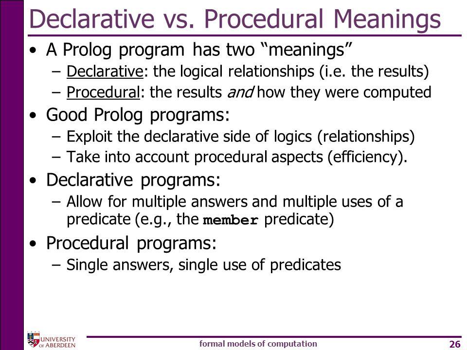 formal models of computation 26 Declarative vs.