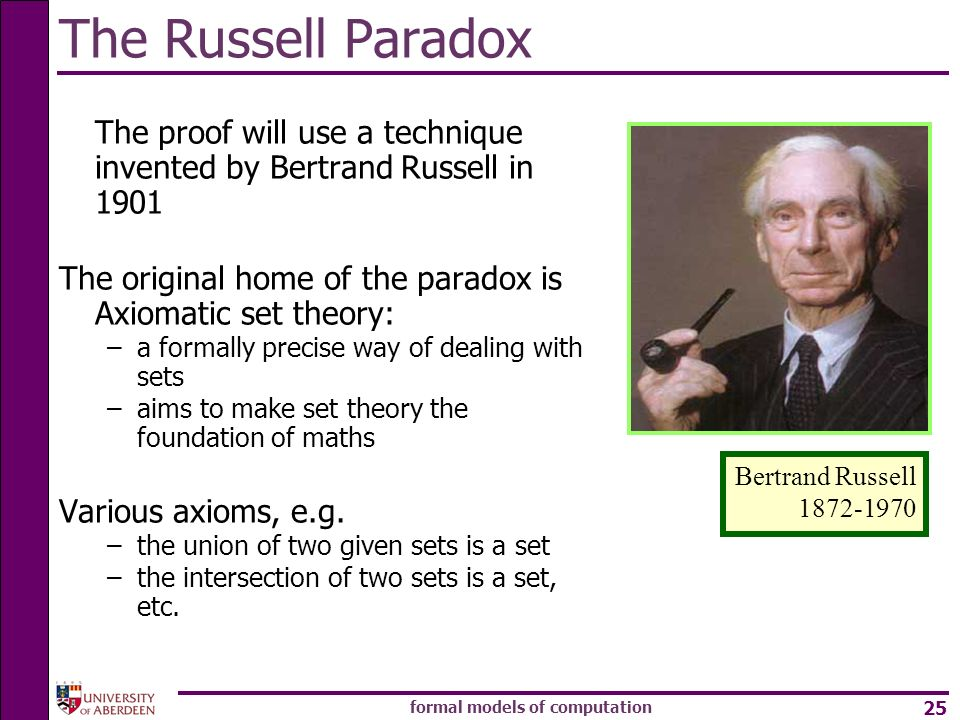 formal models of computation 25 The Russell Paradox The proof will use a technique invented by Bertrand Russell in 1901 The original home of the parad