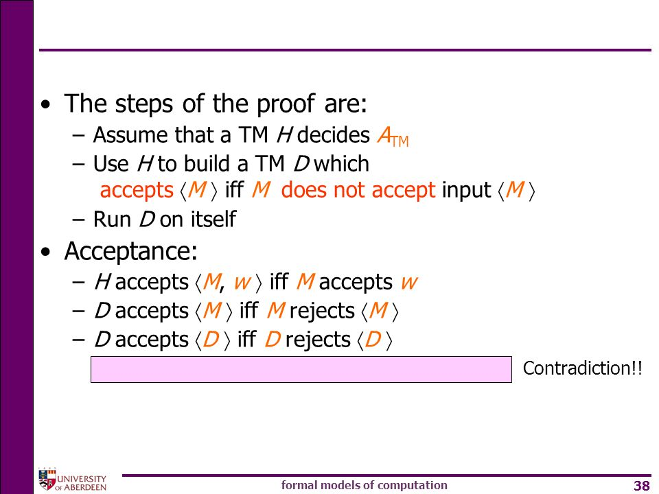 formal models of computation 38 Contradiction!! The steps of the proof are: –Assume that a TM H decides A TM –Use H to build a TM D which accepts M if