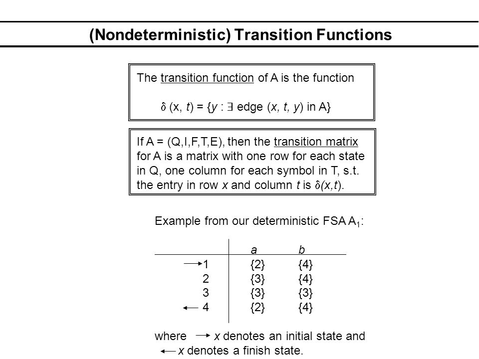 (Nondeterministic) Transition Functions The transition function of A is the function (x, t) = {y : edge (x, t, y) in A} If A = (Q,I,F,T,E), then the transition matrix for A is a matrix with one row for each state in Q, one column for each symbol in T, s.t.