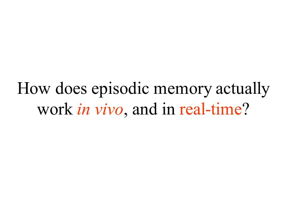 How does episodic memory actually work in vivo, and in real-time?