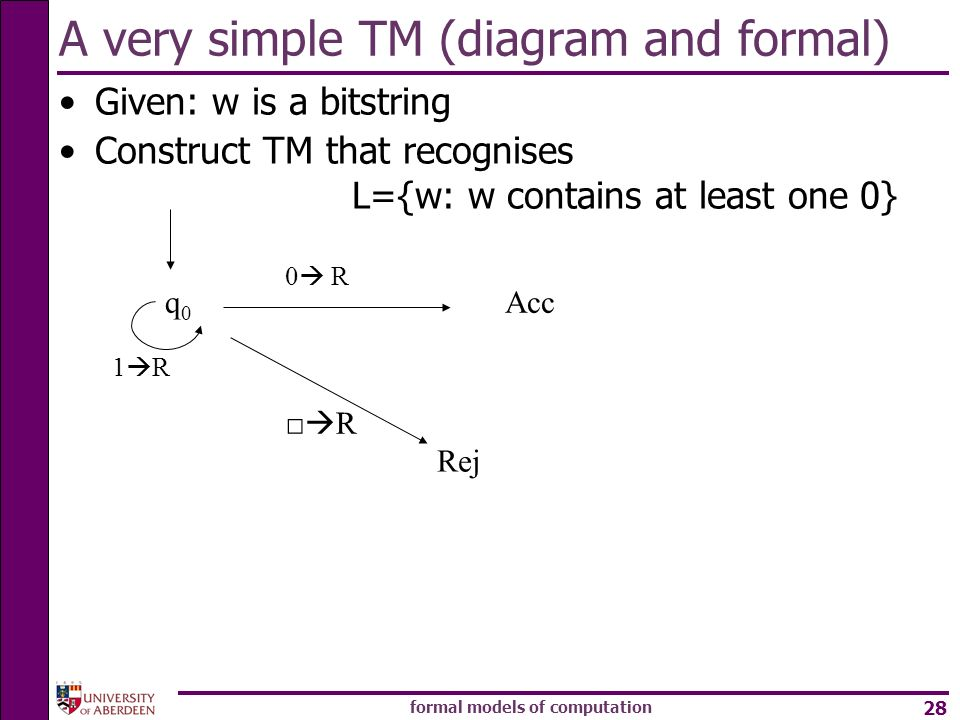 formal models of computation 28 A very simple TM (diagram and formal) Given: w is a bitstring Construct TM that recognises L={w: w contains at least o