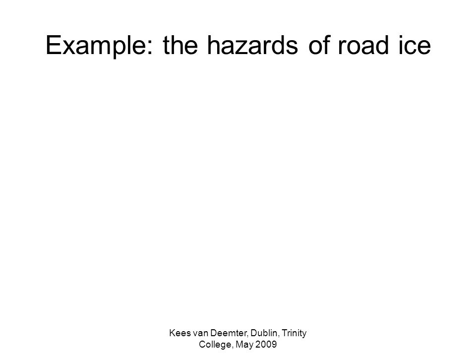 Kees van Deemter, Dublin, Trinity College, May 2009 Example: the hazards of road ice