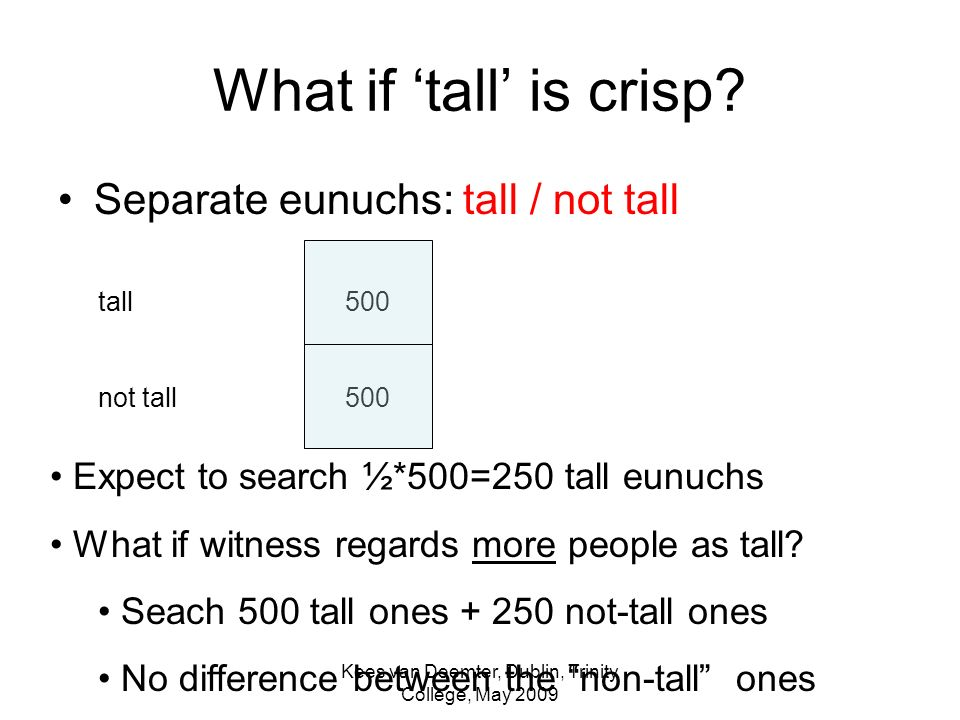 Kees van Deemter, Dublin, Trinity College, May 2009 What if tall is crisp.