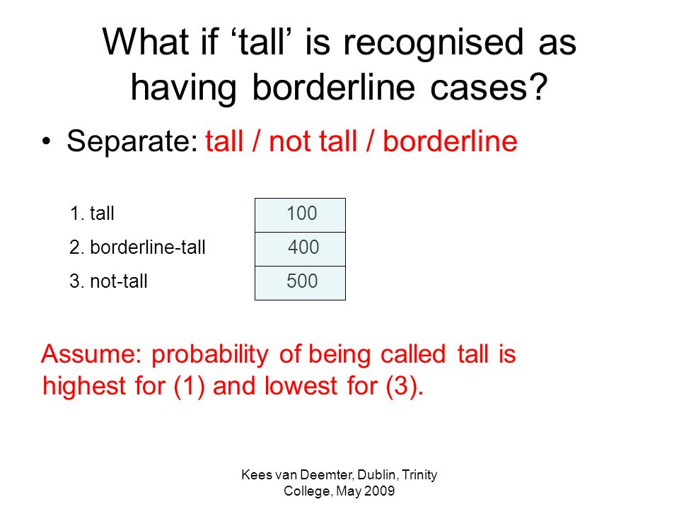 Kees van Deemter, Dublin, Trinity College, May 2009 What if tall is recognised as having borderline cases.