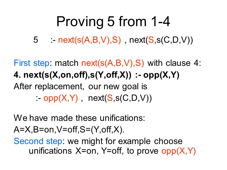Proving 5 from 1-4 5 :- next(s(A,B,V),S), next(S,s(C,D,V)) First step: match next(s(A,B,V),S) with clause 4: 4. next(s(X,on,off),s(Y,off,X)) :- opp(X,