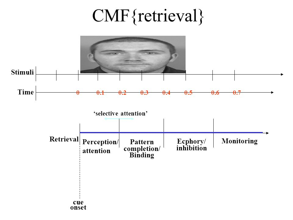 cue onset Ecphory/ inhibition Monitoring Retrieval Perception/ attention Pattern completion/ Binding selective attention Stimuli Time 0.10.20.40.30.50.700.6 CMF{retrieval}