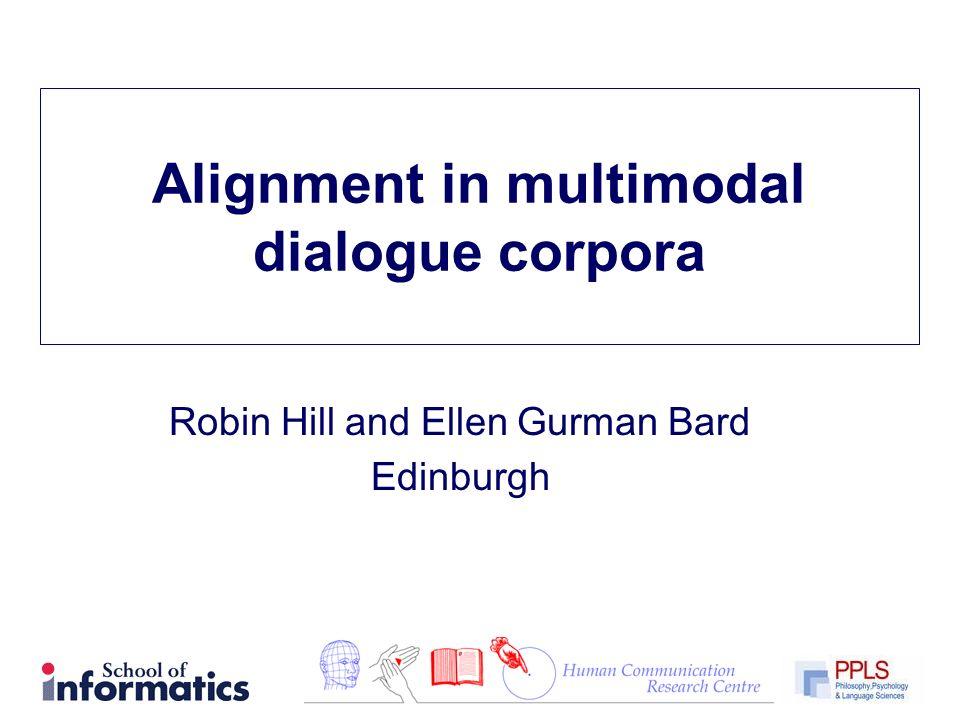 Alignment in multimodal dialogue corpora Robin Hill and Ellen Gurman Bard Edinburgh