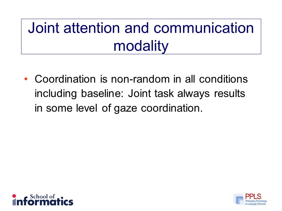 Joint attention and communication modality Coordination is non-random in all conditions including baseline: Joint task always results in some level of gaze coordination.