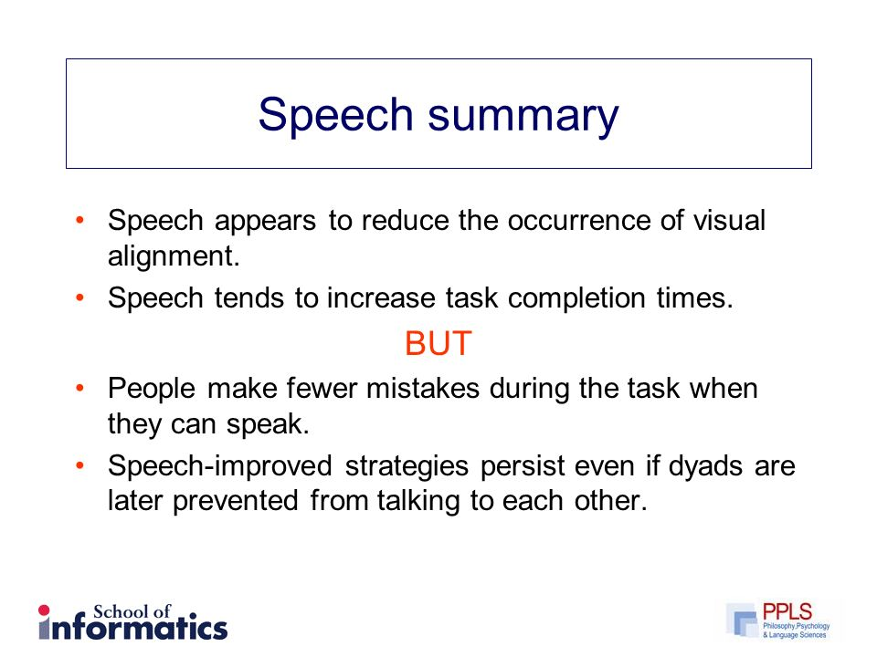 Speech summary Speech appears to reduce the occurrence of visual alignment.